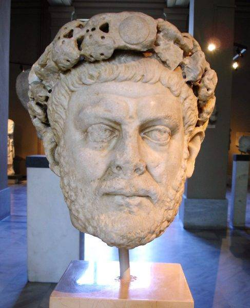 Diocleian's laureate head in the archaeological museum in Istanbul