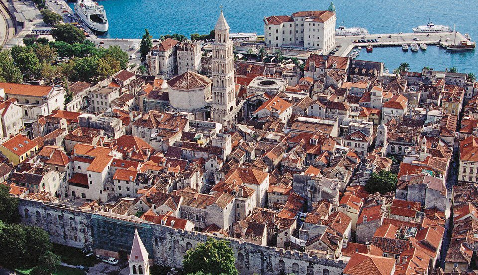 Diocletians's Palace in Split evolved into town