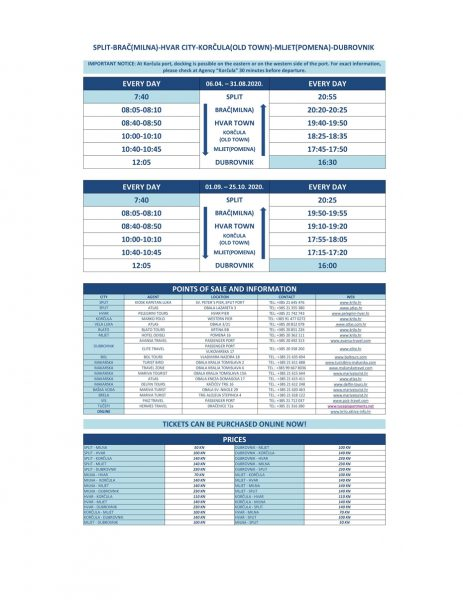 Krilo catamaran timetable for catamarans between Split and Dubrovnik